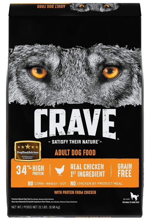 Bag of Crave Grain-Free Adult Dry Dog Food