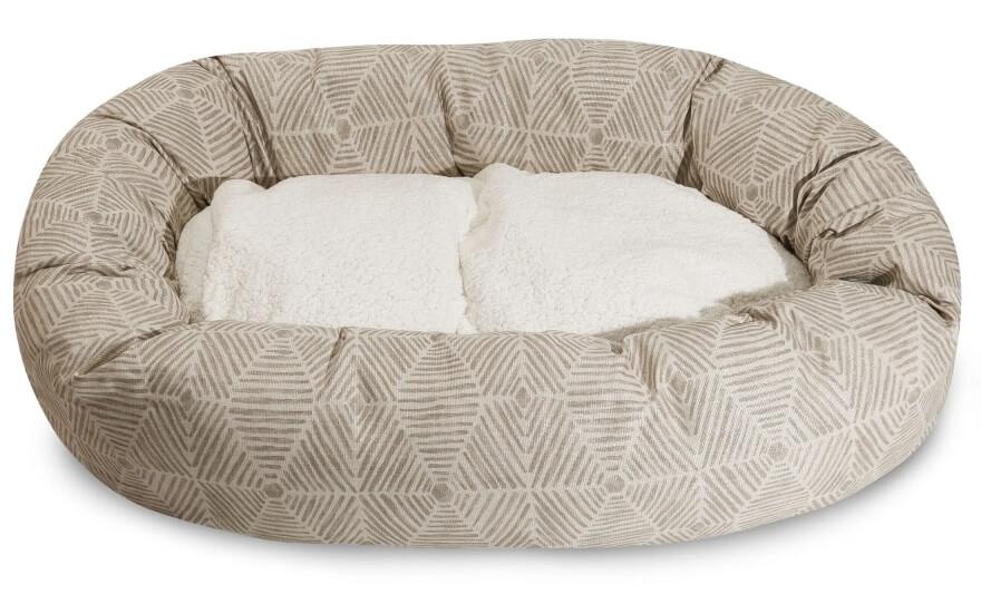 Majestic Pet Sherpa Bagel Dog Bed - Beige Metallic Charlie